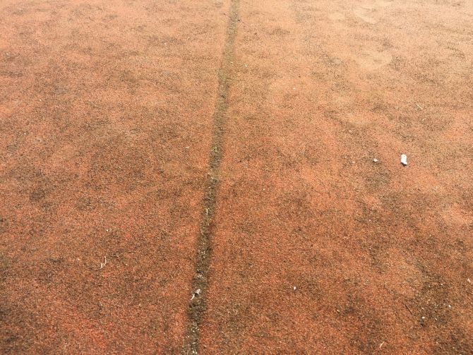Hřiště z umělé trávy kompletně prorostlé mechem