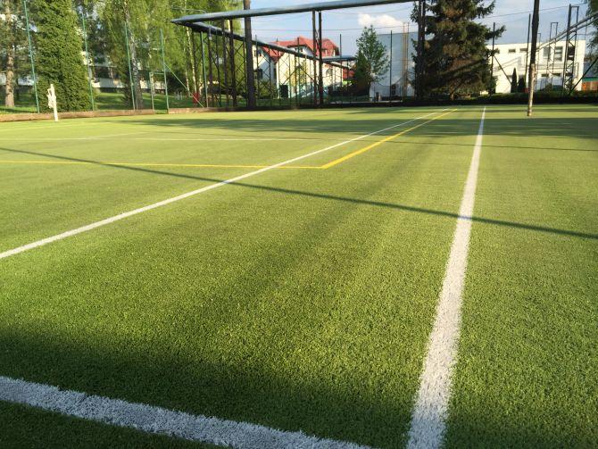 Mech na celé hrací ploše sportoviště z umělé trávy