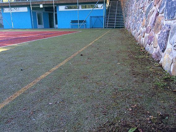 Znečištěné sportoviště z umělé trávy v průběhu pravidelné profesionální údržby