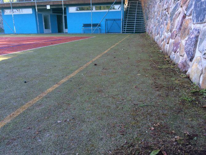 Znečistené športovisko z umelej trávy v priebehu pravidelnej profesionálnej údržby